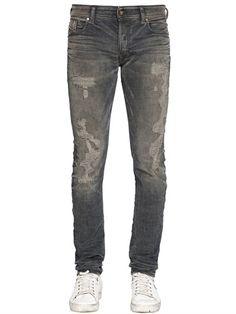 5d9ab32a DIESEL 16Cm Sleenker Dirty Washed Denim Jeans, Blue/Grey. #diesel #cloth # jeans