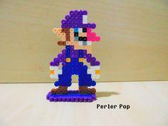 Super Mario Maker Waluigi perler beads by Perler-Pop