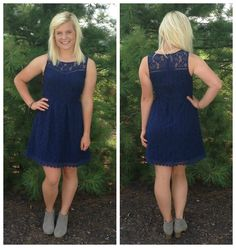 Navy lace dress. Wear it to a wedding, homecoming, and more
