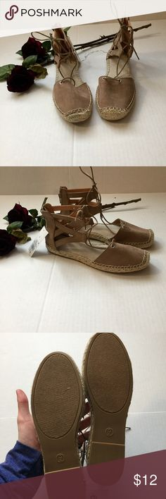 NWT lace up espadrilles sandals From target. Size 9 lace up tan and cream espadrilles. Super cute and trendy for spring time!! Merona Shoes Sandals