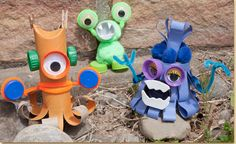 RECYCLED MONSTERS: Create cute little monsters using recycled materials found around the home, such as cardboard tubes, cups and bottle caps! Once complete, use them to reenact make up stories or pair them with a book during creative play!