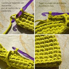 Explicación gráfica de los diferentes puntos que se deben tejer para el bolso cartera de trapillo