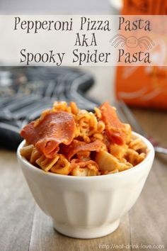 Pepperoni Pizza Pasta made with Halloween Shaped Pasta.