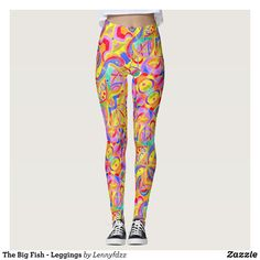 The Big Fish - Leggings : Beautiful #Yoga Pants - #Exercise Leggings and #Running Tights - Health and Training Inspiration - Clothing for #Fitspiration and #Fitspo - Strong Female and Female Empowerment Apparel - #Fitness and Gym Inspo - #Motivational Colorful Workout Clothes by Talented Graphic Designers
