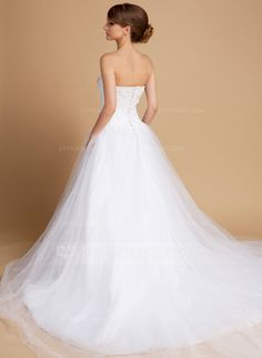 Ball-Gown Sweetheart Chapel Train Satin Tulle Wedding Dress With Lace Beading (002014717)