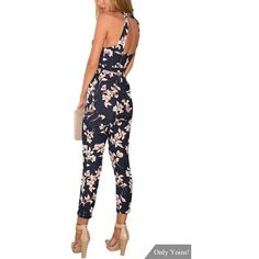 Yoins Navy Floral Print Sleeveless Choker Jumpsuit with Open Back (8.900 HUF) ❤ liked on Polyvore featuring jumpsuits, sexy jumpsuits, sleeveless jumpsuit, navy jumpsuit, open-back jumpsuits and jump suit