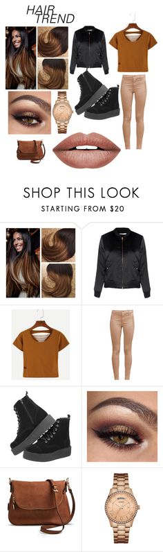 """""""brown n' black hair"""" by shekb ❤ liked on Polyvore featuring Glamorous, WithChic, French Connection, Moda Luxe, GUESS, Forever 21 and hairtrend"""