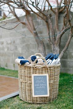 Blue & White Pashminas and Flip-Flops | Photography: Luke & Katherine Griffin for Max & Friends. Read More: http://www.insideweddings.com/weddings/tent-wedding-with-chic-nautical-theme-on-la-playa-bay-in-san-diego/737/