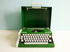Green typewriter | More colourful lusciousness here: http://mylusciouslife.com/photo-galleries/a-colourful-life-colours-patterns-and-textiles/