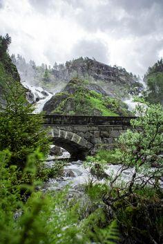 Låtefossen waterfall, Odda, Hardangerfjord in Norway.