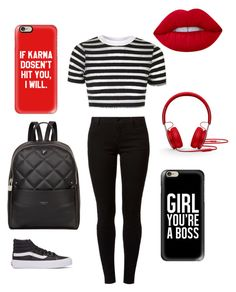 """Red~White~and Black"" by jaydahrich ❤ liked on Polyvore featuring Casetify, Topshop, Dorothy Perkins, Vans, Beats by Dr. Dre, Fiorelli and Lime Crime"