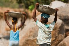 PHOTO OF THE WEEK: 10 June 2013  ---  Children at a quarry, Bombali District, Sierra Leone. -- Globally, an estimated 215 million children are involved in labour. A violation of children's basic rights, labour that is detrimental to health or that otherwise impedes development must cease. Children who work rather than go to school are also more prone to a lifetime of poverty. The World Day against Child Labour is held annually on 12 June.  ©UNICEF/Olivier Asselin www.unicef.org/photography