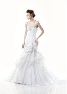GORGEOUS ORGANZA ORNATE BEADING SWEETHEART MERMAID TRUMPET WEDDING DRESS LACE BRIDESMAID PARTY IVORY WHITE PROM