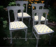 Vintage Antique Oak dinning chairs painted in grey by girlUPcycled, $150.00