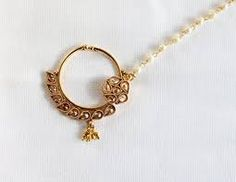 Bridal Nose Ring Chain/Indian Wedding No- Buy Online in Israel at Desertcart Nath Nose Ring, Bridal Nose Ring, Fake Nose, Nose Hoop, Israel, Native American, Gold Rings, Gold Necklace, Indian
