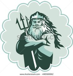 Illustration of triton mythological god arms crossed holding trident viewed from front set inside rosette on isolated background done in retro style. #triton #retro #illustration