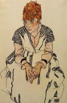 """Egon Schiele, """"The Artist's Sister-in-Law in a Striped Dress, Seated"""", 1917 Sister In Law, Striped Dress, Sisters, Portrait, Artist, Striped Dress Outfit, Headshot Photography, Fringe Dress, Artists"""