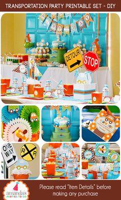 Transportation Party Printable by AmandasPartiesToGo on Etsy