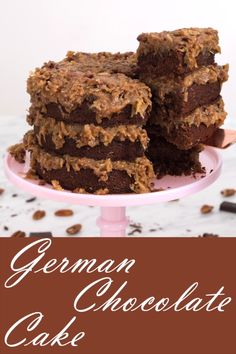 moist, old-fashioned German Chocolate cake with layers of coconut goodness. Mother's Day Desserts moist, old-fashioned German Chocolate cake with layers of coconut goodness. Easy Cake Recipes, Easy Desserts, Delicious Desserts, Dessert Recipes, Coconut Desserts, German Desserts, Coconut Recipes, Food Cakes, Cupcake Cakes