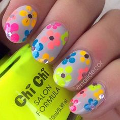 Colorful, Floral Nail Design for Summer