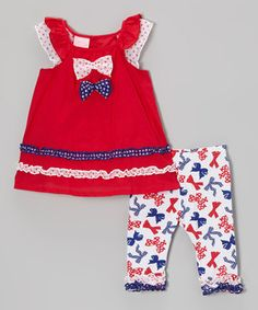 Look at this #zulilyfind! Red Ruffle Top & Blue Bow Leggings - Infant, Toddler & Girls by Nannette Girl #zulilyfinds