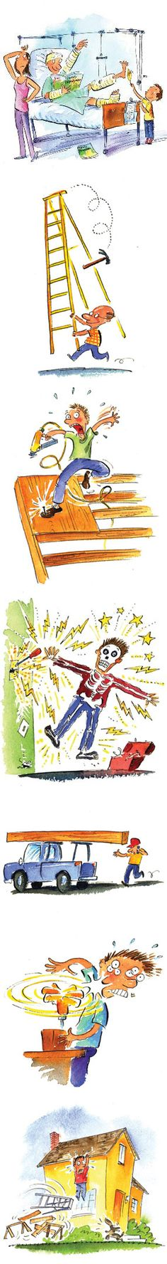 Don't end up in the hospital like this guy. Our staff and field editors tell of the DIY mistakes they've made and the lessons learned from ladders, electricity, roofs, power nailers, drills, pressure washers and more. Learn from their mistakes at http://www.familyhandyman.com/DIY-Projects/Home-Safety/Working-Safely/diy-safety-tips