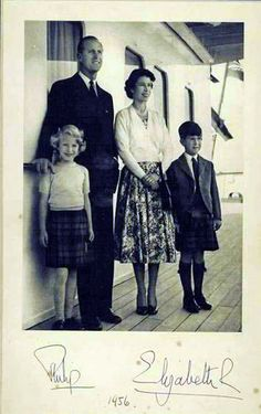 Queen Elizabeth II, Prince Phillip, and their two eldest children, Prince Charles and Princess Anne.