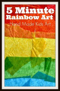 Rainbow Art quick art project reusing tissue paper.   #handmadekidsart #recycledart