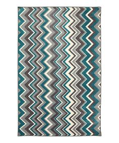 Take a look at this Teal Ziggidy Rug by Mohawk Home on #zulily today!