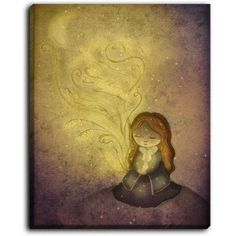DiaNocheDesigns 'Light Upon Us' by Amalia K Original Painting on Wrapped Canvas Size: