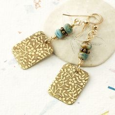 Light Blue and Gold Earrings | Nature Earrings for Women | Flower Patterned Jewelry For Women | Metalsmithed Jewelry | Solana Kai Designs @SolanaKaiDesign on Etsy