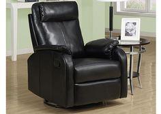 Monarch 8081BK - Black Bonded Leather Swivel Rocker Recliner | Sale Price: $496.00