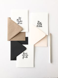 Scripted // Note Card Set by stationeryboutique on Etsy