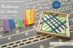 Spielgabe 15 (Original Fröbel) Spiel mit farbigen Holzspänen, hier eine Spielidee für Kinder als Vorlage, erhältlich ist das Spiel im FRÖBELSHOP: http://www.friedrich-froebel-online.de/shop/spielgaben/flechtdesign-legespiel-froebel/