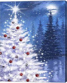 White Xmas Tree By The Macneil Studio Canvas Art - Multi Silver Christmas Decorations, Diy Christmas Ornaments, Christmas Art, Christmas Canvas, Christmas Paintings On Canvas, Christmas Tree Painting, Painted Christmas Tree, White Xmas Tree, Fun Craft