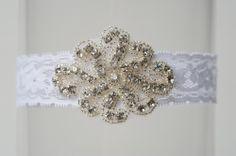 La Gartier Wedding Garters on the blog of StudioWed ATL. The Alyson Crystal garter.