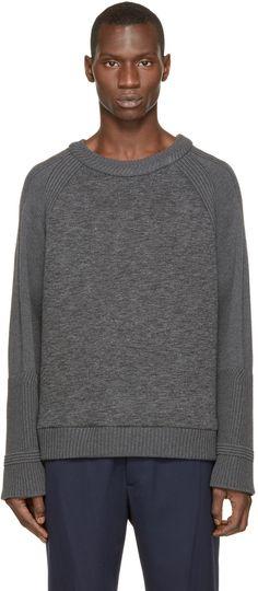 Juun.J Grey Neoprene & Knit Sweater