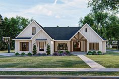 Enjoy one-level living in this New American house plan. The exterior board… Enjoy one-level living in this New American house plan. The exterior. Modern Farmhouse Exterior, Farmhouse House Plans, Farmhouse Front Porches, Country Home Plans, Craftsman House Plans, Farmhouse Homes, Country Homes, Farmhouse Design, Country Farmhouse