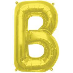 Gold Mylar ''B'' Letter Balloon, 16'' | 1 ct
