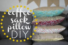 coffee sack pillow DIY! make these & spruce up your couch!