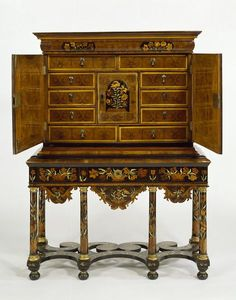 English Cabinet (shown open) at the Victoria and Albert Museum, London Old World Furniture, Furniture Styles, Antique Furniture, Oriental Furniture, Style Rustique, Antique Cabinets, Victoria And Albert Museum, Decor Styles, Decoration