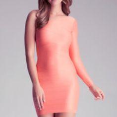 bebe Dresses - Bebe One Sleeve Shiny Mini Dress