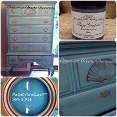 One of my favorite color combinations Sea Glass Paint Couture!(TM) and Zinc Glaze Couture!(TM). Love this dresser by Organize Create Decorate!