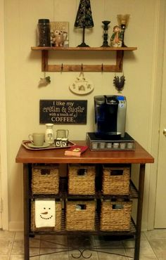 Coffee Bar...industrial style base with a wood top.  It is the perfect place for some of my favorite things...Keurig machine and a few snowmen!