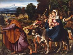 """Jacopo Bassano (Italian, Venice, about 1510–1592), """"The Flight into Egypt."""" Oil on canvas, about 1540–45. 62 x 80 in. (157.5 x 203.2 cm). Toledo Museum of Art, Purchased with funds from the Libbey Endowment, Gif t of Edward Drummond Libbey, 1977.41 #radiantorchid"""