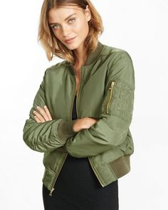 A bomber jacket that's easily customized with pins or patches, so you can decide how much to tap into the trend. The quilted lining is insulated for warmth. Army Green Bomber Jacket, Green Jacket, Military Jacket, Bomber Jackets, Outerwear Jackets, Women's Jackets, Olive Jacket, Puffy Jacket, Quilted Jacket