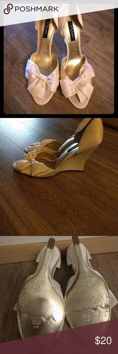 Nina satin cream wedge heels Sz 11 Nina satin cream wedge heels Sz 11. Nina Shoes Heels
