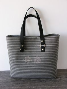 Embroidered tote bag with beige brown and black by bbdesigncompany, $125.00