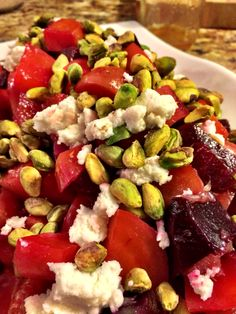 Beet Salad with Pistachio and Goat Ricotta #healthysuperbowlparty