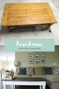 DIY farmhouse coffee table - Get the fixer upper look with this farmhouse coffee table for under $40!  Click through or repin for later!  www.meetourlife.com